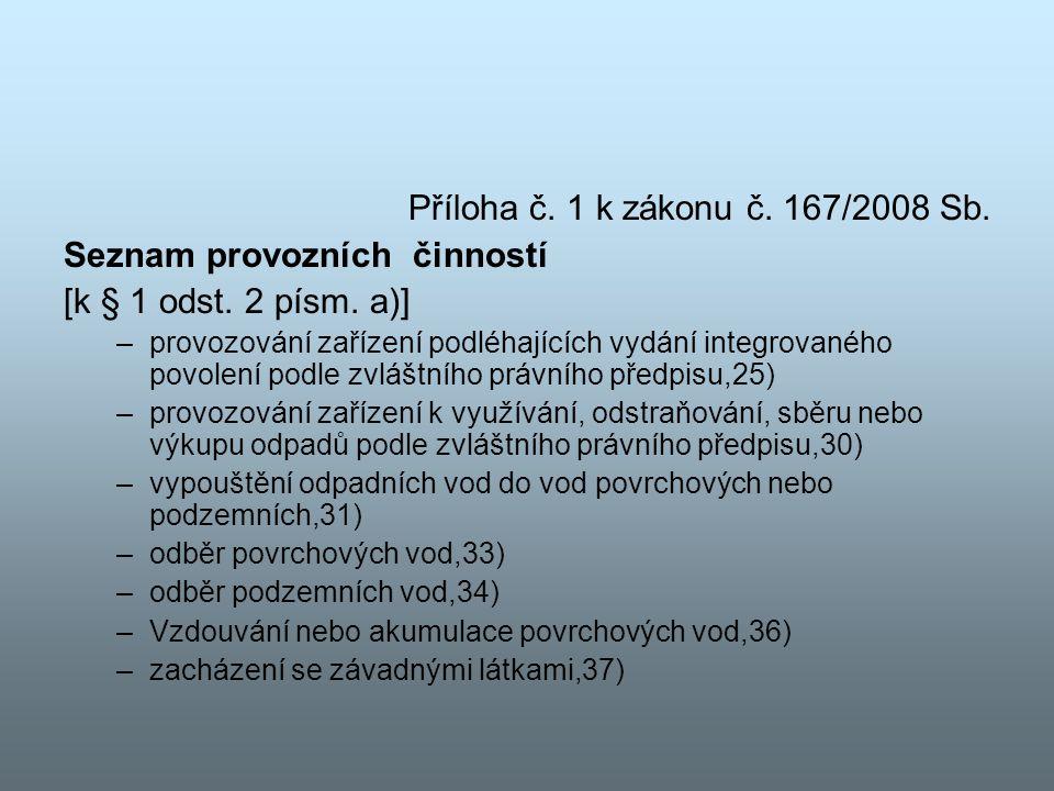 Seznam provozních činností [k § 1 odst. 2 písm. a)]
